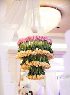 who knew upside down tulips would work so well as wedding decor?