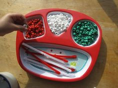 Beading on a child's dinner serving tray