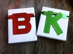 Fun way to customize a gift - choose the first letter of your recipient from an old garland and tie to package