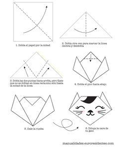 Origami cat. Gato de origami. http://manualidades.euroresidentes.com/2013/05/como-hacer-un-gato-de-origami-muy-facil.html