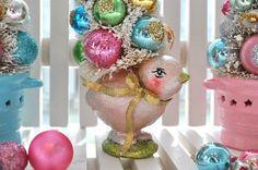 bottle brush tree...Easter chick