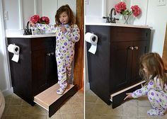 what a great place to put a step for the little ones who can't reach the sink!! The Hidden Storage | Well Done Stuff | Amazing ideas