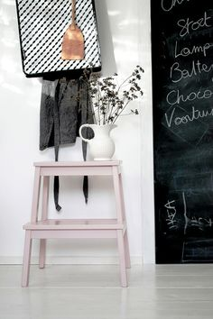 Love this: Ikea Bekvam stool stained in pink, and used as a little side table