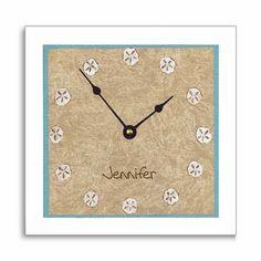 clock idea, beach bedrooms, beach clock, sand dollar framed, sand dollars, wall clocks, beach theme clock, beach room, bedroom clock