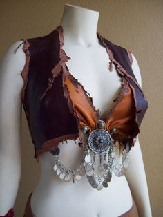 Winter Sale -- Wanderer Leather Vest -- tribal fusion belly dance amazon larp. $75.00, via Etsy.