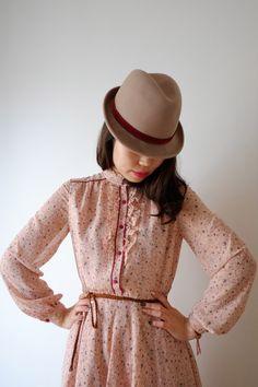 Light pink floral Japanese vintage dress xs  s by kamomeya