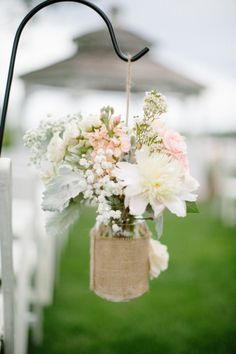 Mason jar wrapped with burlap and the prettiest of flowers! burlap, babies breath, galleries, lake geneva, inspiration, lakes, floral designs, flowers, mason jars