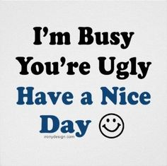 I'm Busy You're Ugly Have a Nice Day Poster