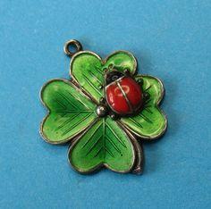 Silver German Green Enamel Lucky Four Leaf Clover and Ladybug Ladybird Charm