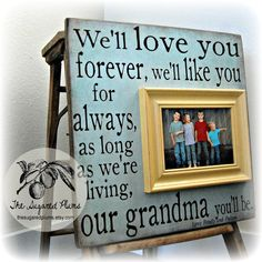 Mothers day quote:  Grandma, Grandma Gift, Grandma Frame, Grandparents Day, Grandmother, MiMi, Nana 16x16 Personalized Picture Frame