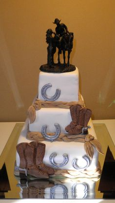 country wedding cake. Love the topper