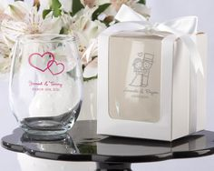 Wedding favors - personalized wine glasses-- so cute !!! Feel as though i would have to give two to each person ... Thoughts pinners out there ??