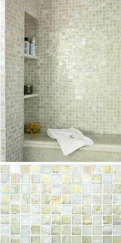 Walker Zanger Vintage Glass makes your shower look like it is full of tiny green jewels!