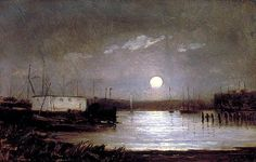 Untitled (Full moon over harbor) :: Edward Mitchell Bannister