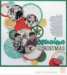#papercraft #scrapbook #layout.  Cousins At Christmas...Basic Grey Evergreen Collection 2014