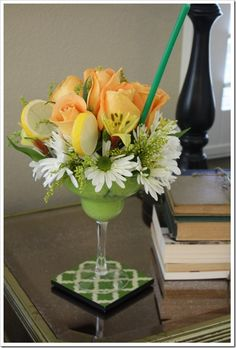 margarita glasses - Cute flower arrangement