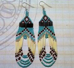 Native American Beaded Earrings Turquoise Quill by LakotaCharm, $18.00