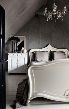 dark walls, white furniture. beautiful.