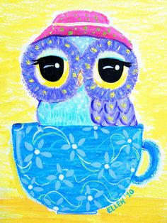 Owl Art - Owl In A Teacup by Udonchow