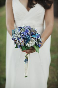 blue brooch boquet
