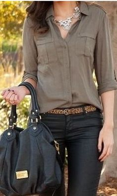 Black Skinny jeans, button down shirt, belt, bag