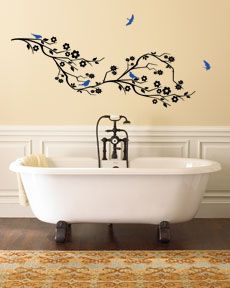 Cherry Blossom Branch & Birds Large Wall Decals...comes in a million colors
