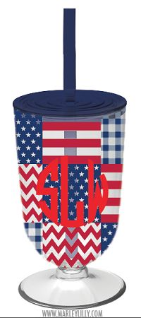 Monogrammed 18oz Patriotic Plaid Double Wall Acrylic Cocktail Tumbler
