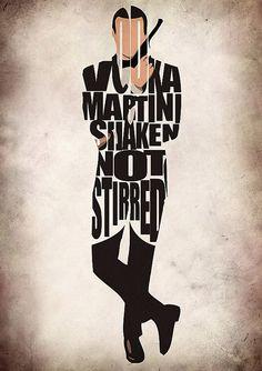 James Bond Print - Sean Connery as James Bond 007 - Minimalist Illustration Typography Art Print  Poster via Etsy