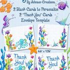 """This adorable set includes 2 """"Thank You"""" cards, 2 blank cards for you to personalize on your computer (directions included- you must have free Adob..."""
