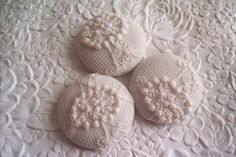 3 Vintage fabric buttons $6.00 @Feille