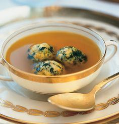 Saffron Chick Broth with Spinach Matzo Balls. Popeye approved. #kosher
