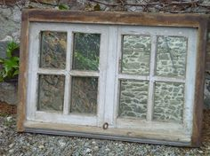 Antique Window Pane Mirror | STEAMPUNK - MIRROR Old Oak Window , 4 pane with Hinges and Locking ...