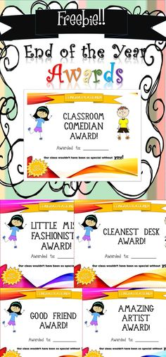 30 Student Awards for the end of the year! I created 30 so hopefully each student can be awarded one in your class! Enjoy! :)   Contains:   Classroom Comedian Award  Amazing Artist Award  Most Organized Award  Little Miss Fashionista Award  Good Friend Award  Hardest Worker Award.....