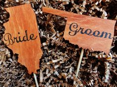 Super cute idea!!  States cake topper  cake topper  wood by KraftedSweetMemories, $34.99