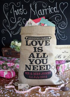 Personalized hessian wedding card post box, burlap sack for wedding cards and presents. Custom wedding card holder.