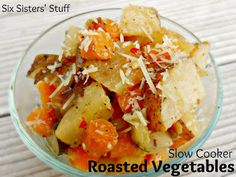 Perfect Summer Side Dish! Slow Cooker Roasted Vegetables by www.sixsistersstuff.com. #side dish # recipe