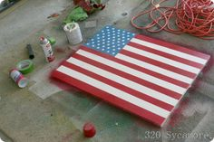 Painted Wood American Flag Tutorial  320sycamore.com