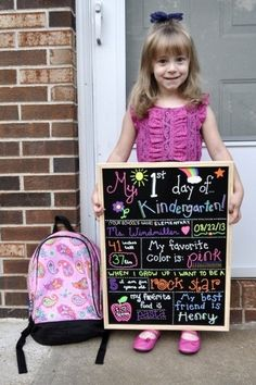 First Day of School Chalkboard Idea.  Love this even more information about them on the first day of each grade.