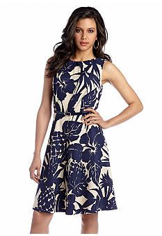 AGB Sleeveless Fit and Flare Belted Dress