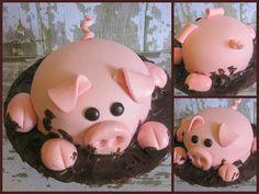 Pig Cake--- this is so stinking cute idea, little pigs, mud, smash cakes, piggi cake, birthdays, pig cake, themed parties, birthday cakes