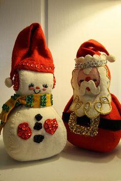 Cute vintage snowman and santa