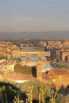 Bridges of Florence at Sunrise, Firenze, Italy