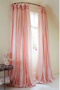 pink curtains on a curved rod ♥Manhattan Girl