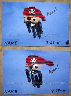 Pirate handprint craft idea.