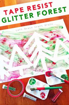 This Tape Resist Glitter Forest is a Five Minute Craft that is so simple to set up but is big on fun.