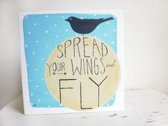 Spread Your Wings Quote Canvas Painting Inspirational Word Art Black Bird Silhouette Square Painting Kids Canvas Art Modern Folk Painting. $69.00, via Etsy.