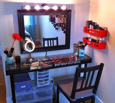 Love it! DIY Vanity Space! ♥ Love the crate shelves on the wall! I so can't wait til we move and I have room to get my vanity back!!!!