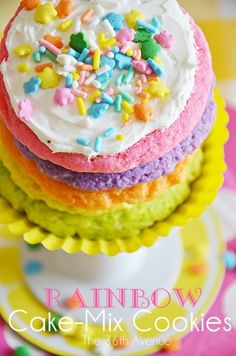 Rainbow Cake Mix Cookies! |the36thavenue.com