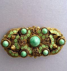 Peking Glass Vintage Brooch with Enamel.  Czech Art Nouveau