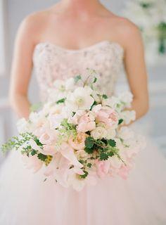 pale pink, green, cream bouquet